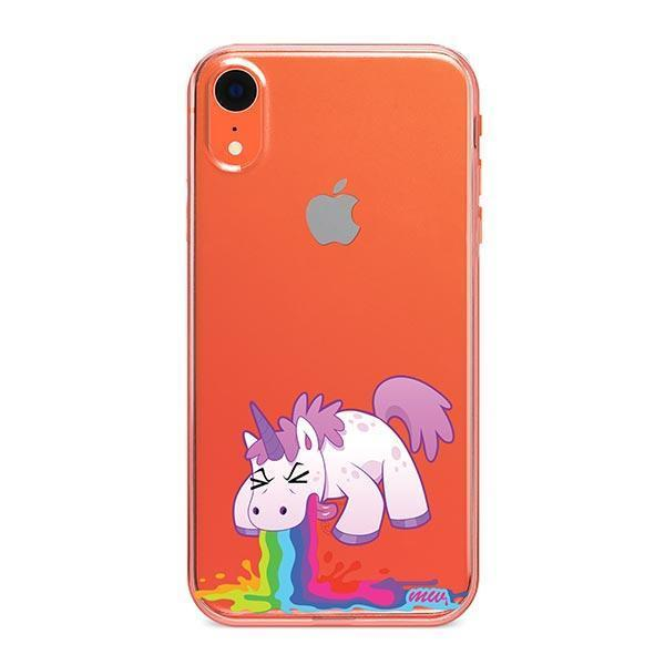 Puking Unicorn iPhone XR Case Clear
