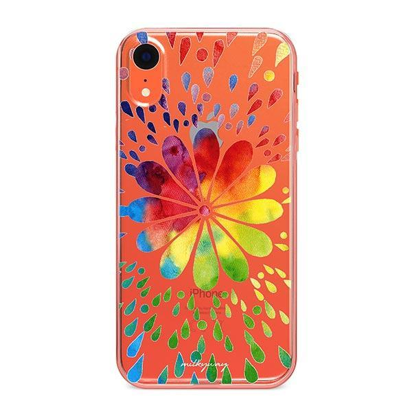 Rainbow Mandala iPhone XR Case Clear