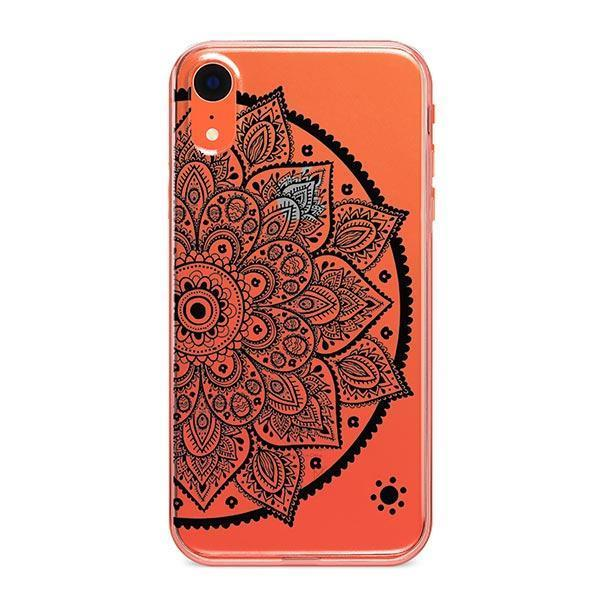 Black Henna Lotus Mandala iPhone XR Case Clear