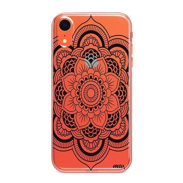Black Henna Full Mandala iPhone XR Case Clear