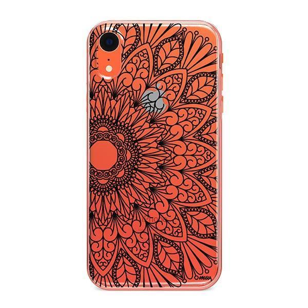 Black Mandala iPhone XR Case Clear