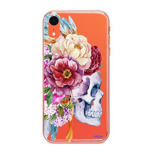 Craneo De La Flor iPhone XR Case Clear