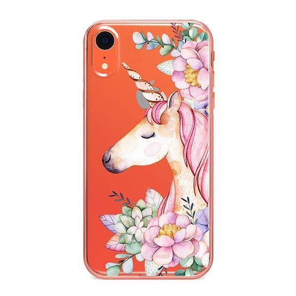 Floral Unicorn iPhone XR Case Clear