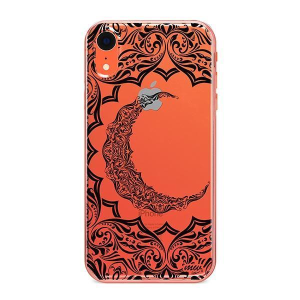 Crescent Moon Henna iPhone XR Case Clear