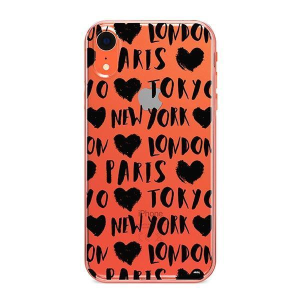 Paris Tokyo London New york iPhone XR Case Clear