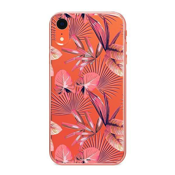 Pink Palm Leaves iPhone XR Case Clear