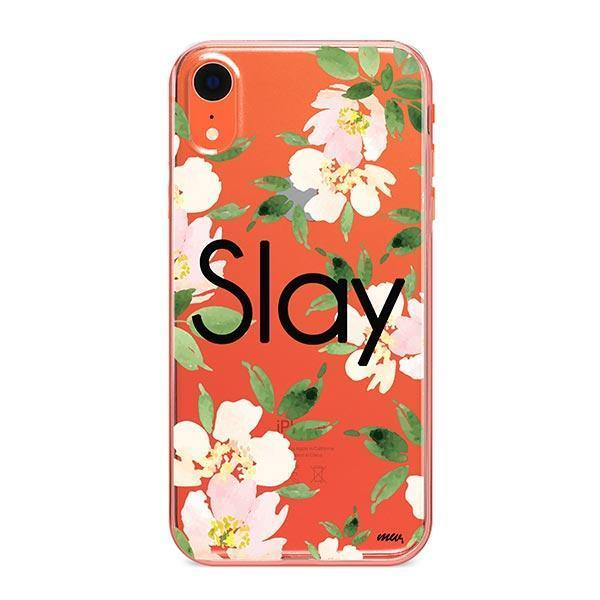 Slay with Flowers iPhone XR Case Clear