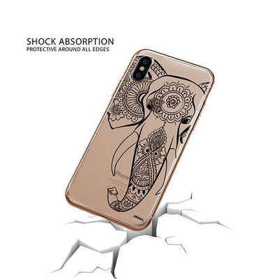 Black Tribal Elephant - iPhone XS Case Clear