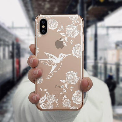 White Vintage Hummingbird - iPhone XS Case Clear