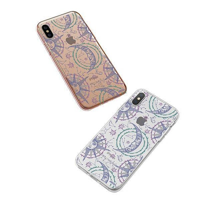 Henna Crescent Sun and Moon iPhone XS Case Clear