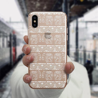 Henna Lotus Floral Elephant - iPhone XS Case Clear