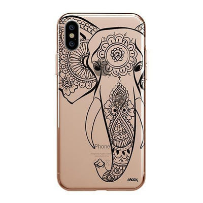 Black Tribal Elephant - iPhone Clear Case