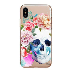Colored Floral Skull iPhone XS Max Case Clear
