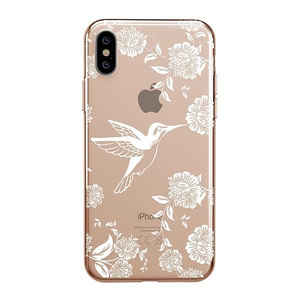 White Vintage Hummingbird - iPhone XS Max Case Clear