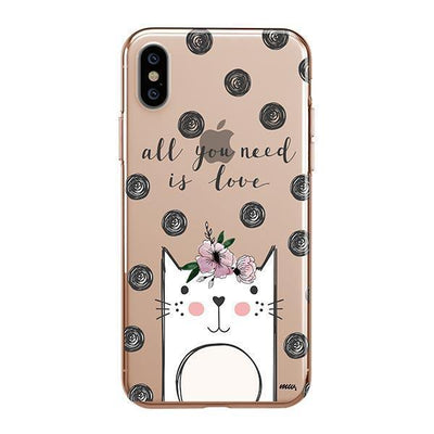 Cat Love Clear TPU Case - Clear Cut Silicone iPhone Cover - Milkyway Cases