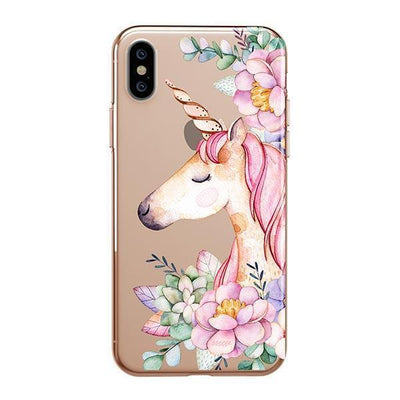 Floral Unicorn Clear TPU Case - Clear Cut Silicone iPhone Cover - Milkyway Cases