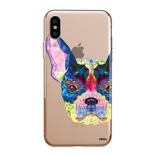 Geometric Frenchie - iPhone XS Max Clear Case