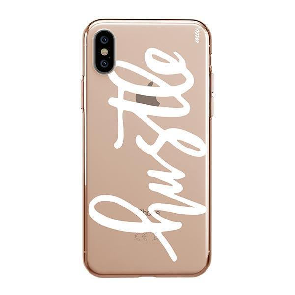 Hustle in White iPhone XS Max Case Clear