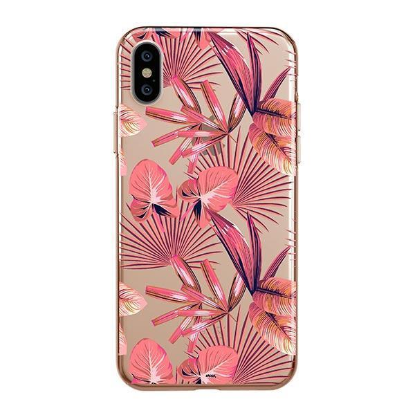 Pink Palm Leaves iPhone XS Max Case Clear