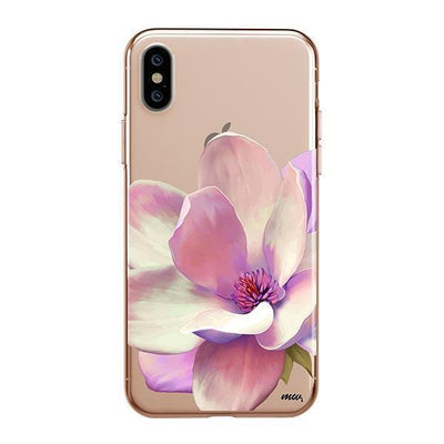 Watercolor Magnolia Clear TPU Case - Clear Cut Silicone iPhone Cover - Milkyway Cases
