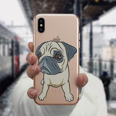 Full Pug - iPhone XS Clear Case