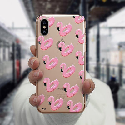 Flamingo Floaties iPhone XS Case Clear