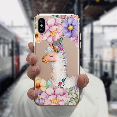 Floral Llama iPhone XS Case Clear