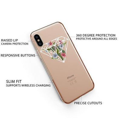 Floral Diamond iPhone XS Case Clear