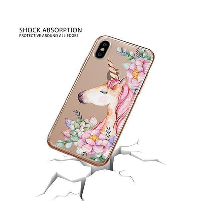 Floral Unicorn iPhone XS Case Clear