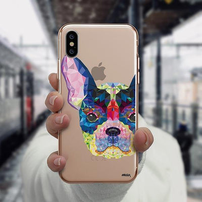 Geometric Frenchie - iPhone XS Clear Case