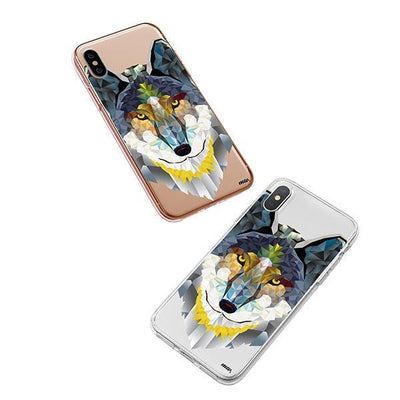 Geometric Wolf - iPhone XS Case Clear