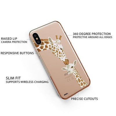 Giraffe Love - iPhone XS Case Clear