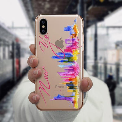 Watercolor New York iPhone XS Case Clear