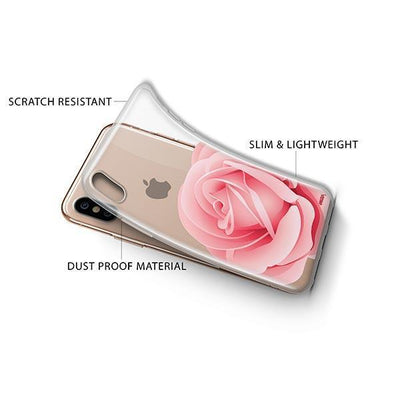 Pink Rose iPhone XS Case Clear