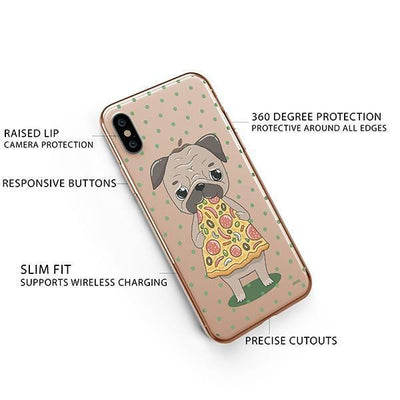 Pizza Pug iPhone XS Case Clear