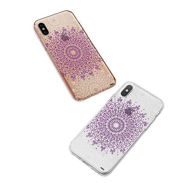 Purple Mandala iPhone XS Case Clear
