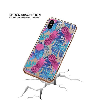 Purple Summertime Pineapple iPhone XS Case Clear