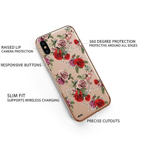 Watercolor Floral Pattern iPhone XS Case Clear