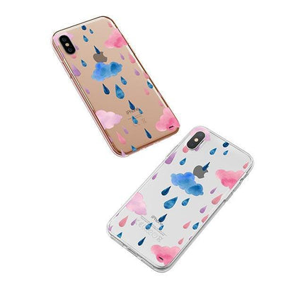 Watercolor Rain iPhone XS Case Clear