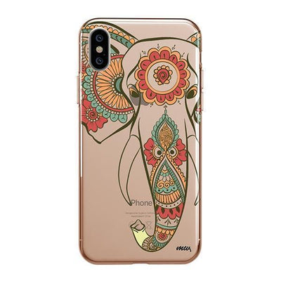 Colored Tribal Elephant - iPhone XS Case Clear