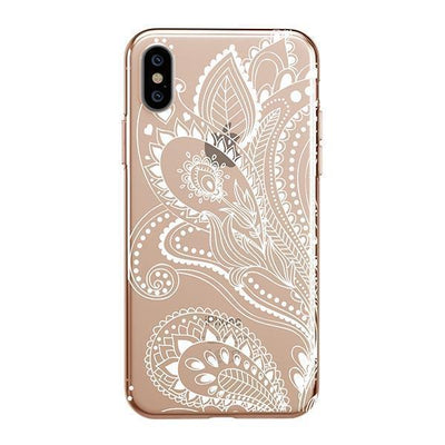 White Floral Paisley iPhone XS Case Clear