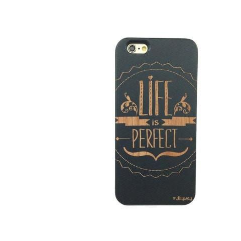 Black Bamboo Wood Case - Life is Perfect i