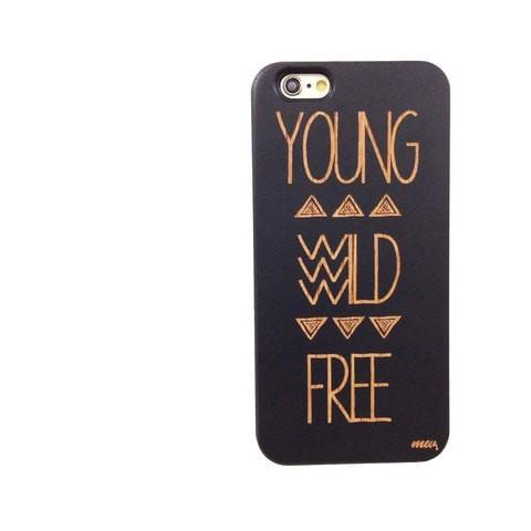 Black Bamboo Wood Case - Young Wild and Free