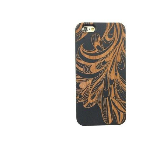 Black Bamboo Wood Case - La Fleur Peacock Feather