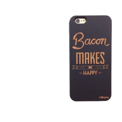 Black Bamboo Wood Case - Bacon Makes Me Happy