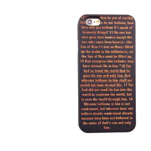 Black Bamboo Wood Case - John 3:16 (Bible Verse)