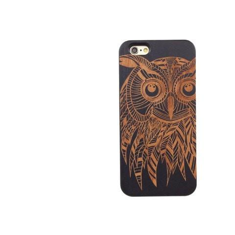 Black Bamboo Wood Case - Kwago Tribal Owl