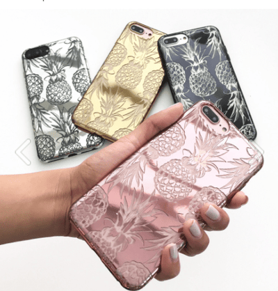Chrome Shiny Hawaiian Pineapple iPhone Case - Milkyway Cases -  iPhone - Samsung - Clear Cut Silicone Phone Case Cover