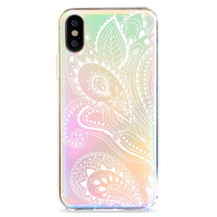 White Floral Paisley - Holographic iPhone Case