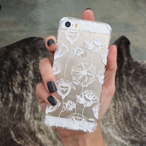 WHITE HENNA LOTUS GARDEN - Clear TPU Case Cover